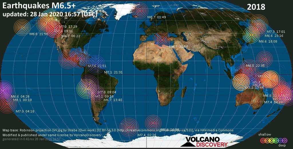 World map showing earthquakes above magnitude 6.5 during 2018