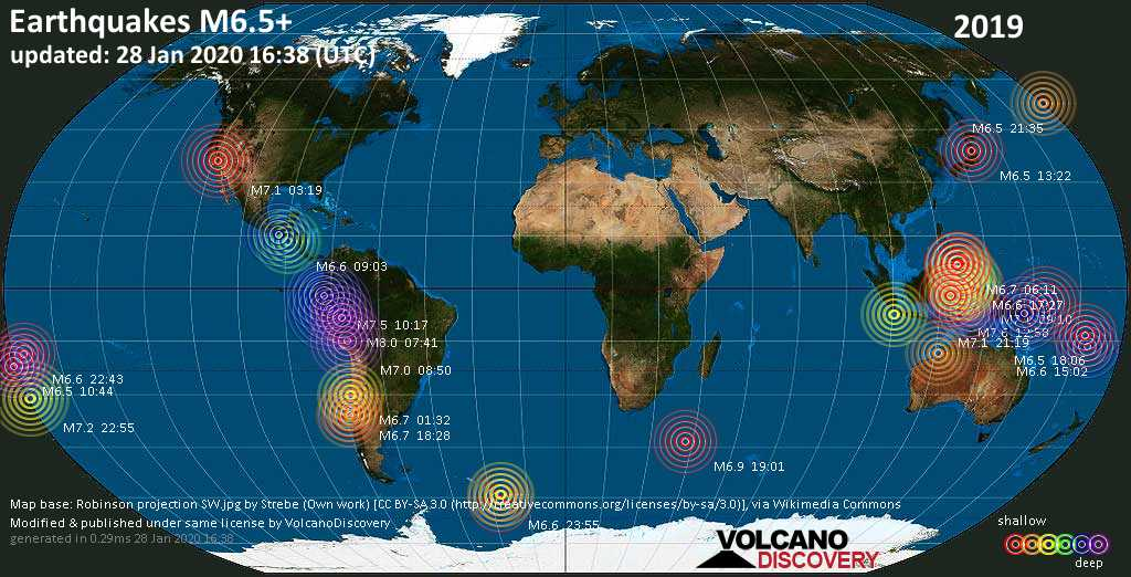 World map showing earthquakes above magnitude 6.5 during 2019