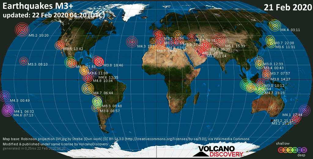 World map showing earthquakes above magnitude 3 during the past 24 hours on 22 Feb 2020