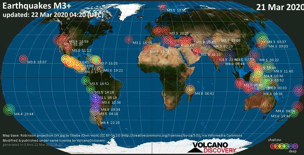 World map showing earthquakes above magnitude 3 during the past 24 hours on 22 Mar 2020
