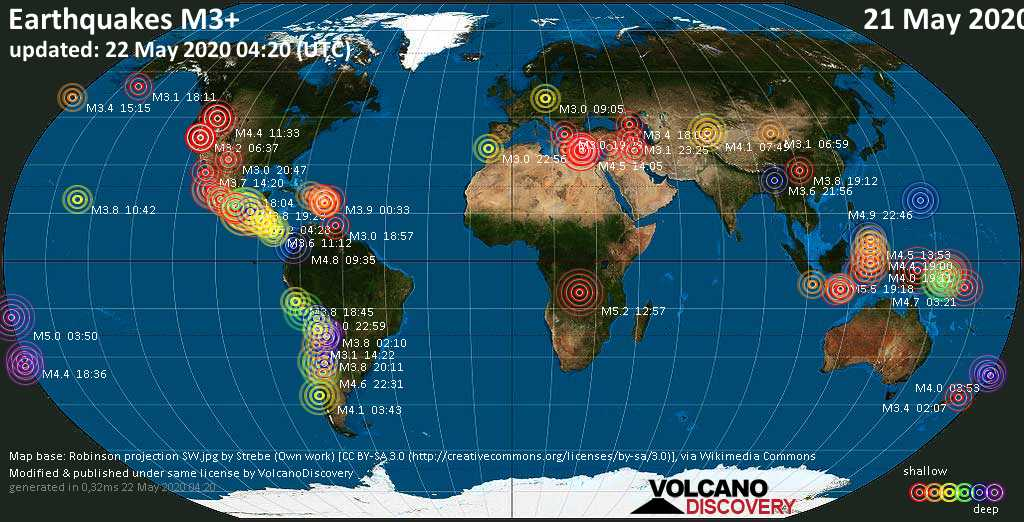 World map showing earthquakes above magnitude 3 during the past 24 hours on 22 May 2020