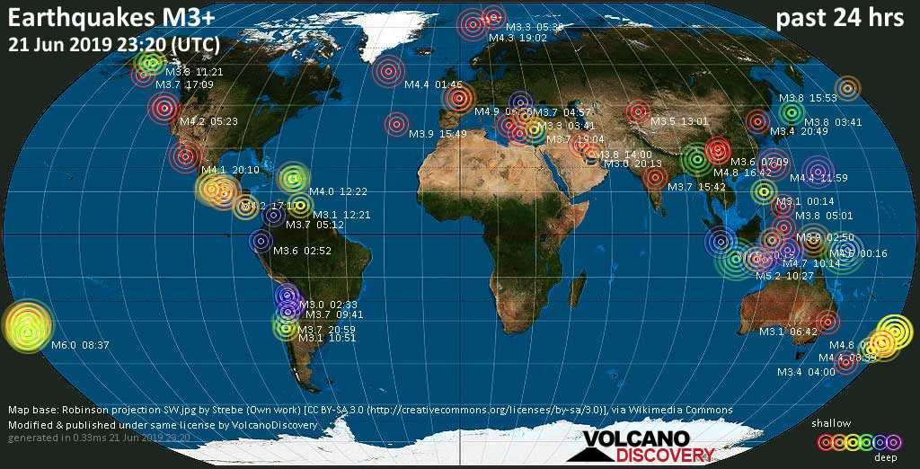 World map showing earthquakes above magnitude 3 during the past 24 hours on 21 Jun 2019