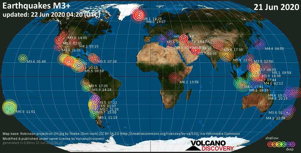 World map showing earthquakes above magnitude 3 during the past 24 hours on 22 Jun 2020