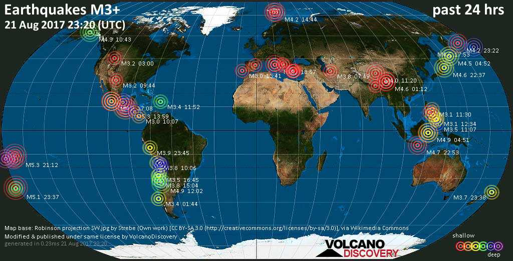 World map showing earthquakes above magnitude 3 during the past 24 hours on 21 Aug 2017