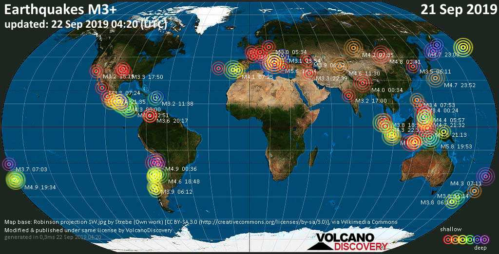 World map showing earthquakes above magnitude 3 during the past 24 hours on 22 Sep 2019