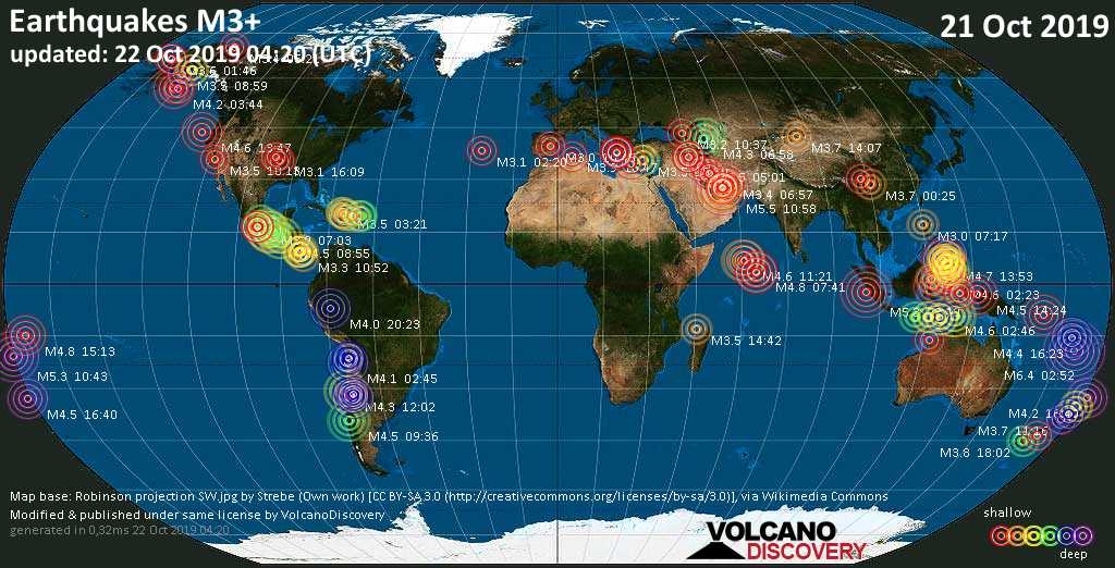 World map showing earthquakes above magnitude 3 during the past 24 hours on 22 Oct 2019