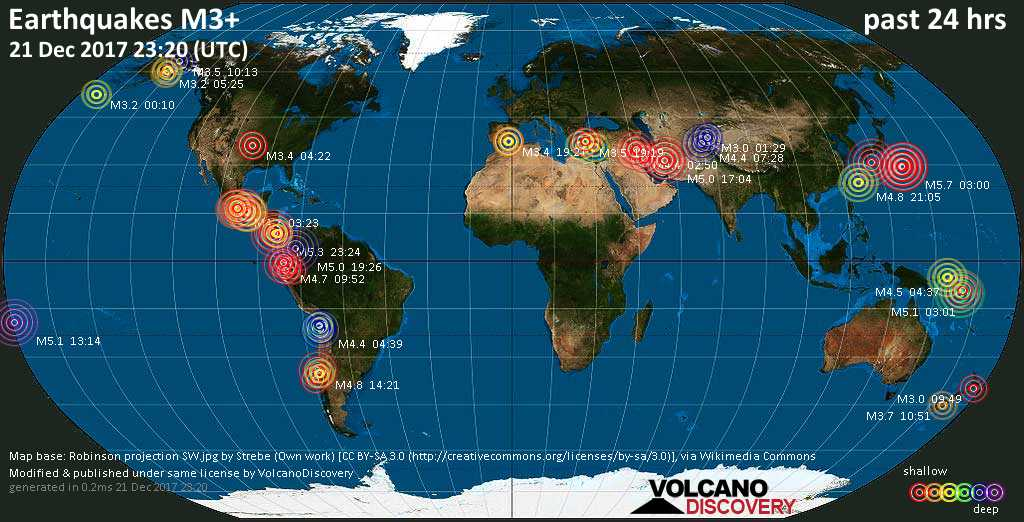World map showing earthquakes above magnitude 3 during the past 24 hours on 21 Dec 2017