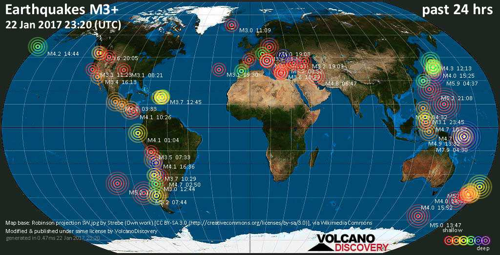 World map showing earthquakes above magnitude 3 during the past 24 hours on 22 Jan 2017