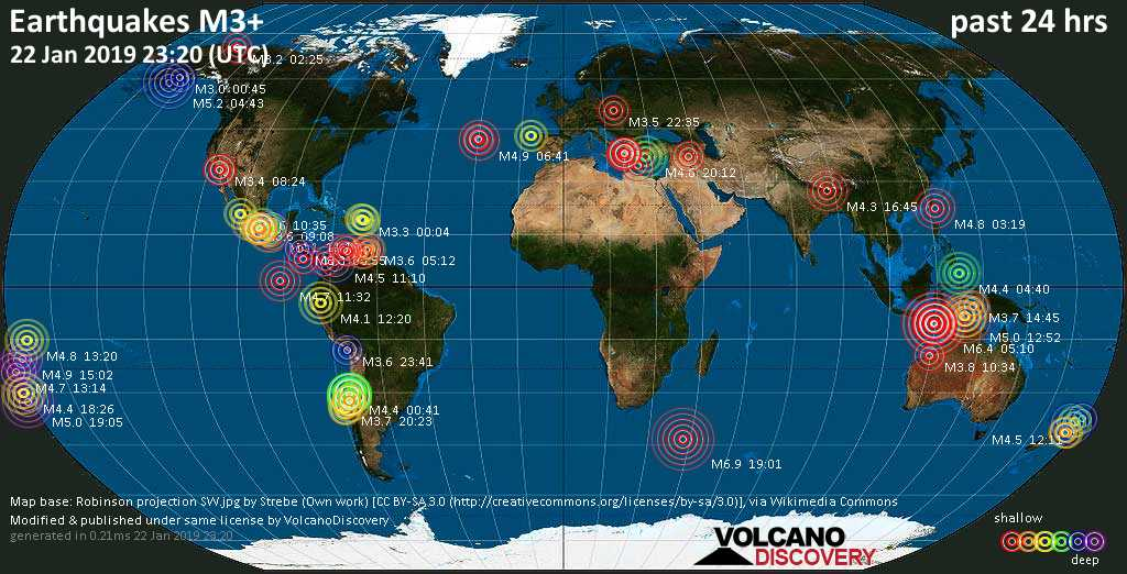 World map showing earthquakes above magnitude 3 during the past 24 hours on 22 Jan 2019
