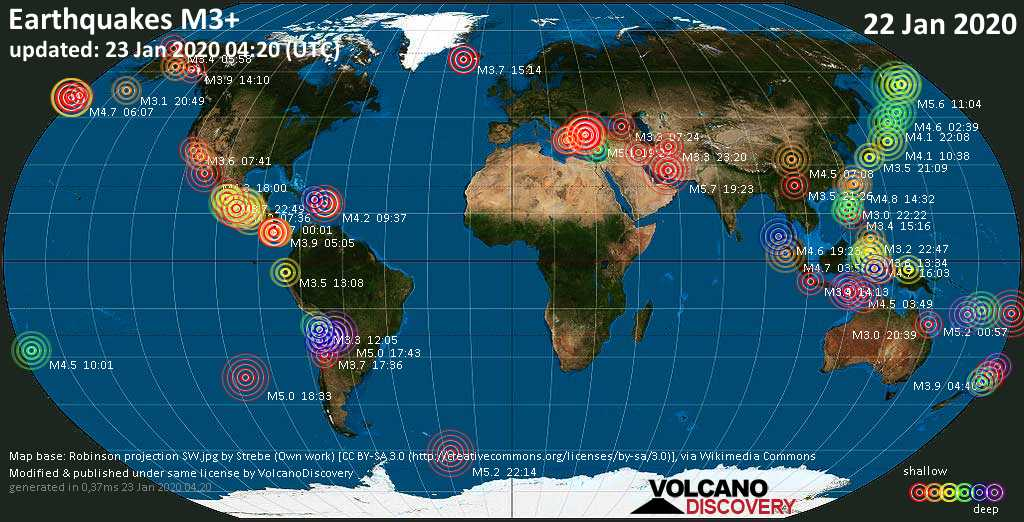 World map showing earthquakes above magnitude 3 during the past 24 hours on 23 Jan 2020