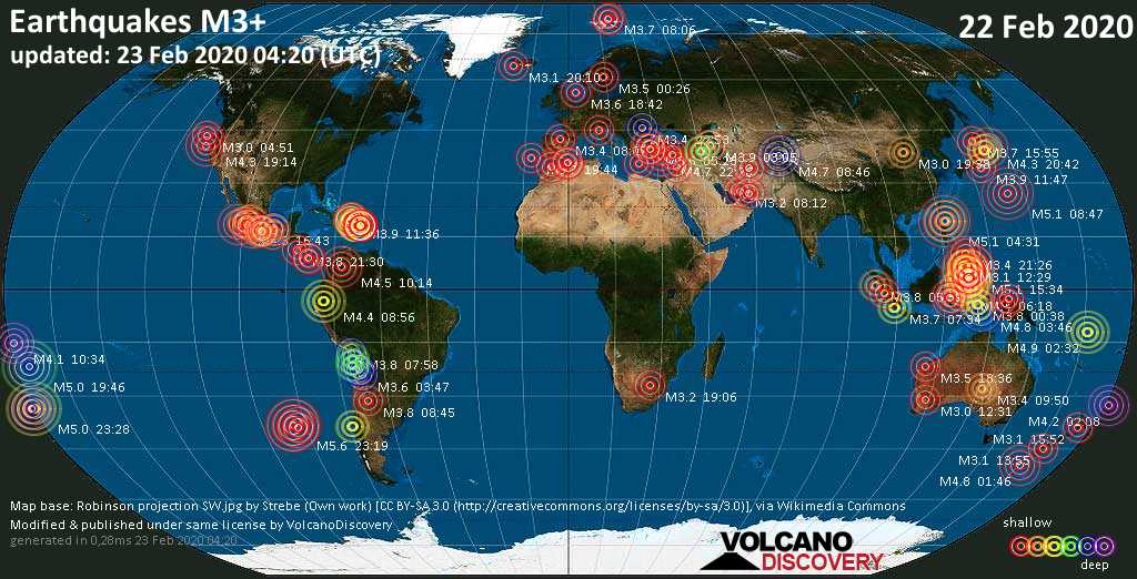 World map showing earthquakes above magnitude 3 during the past 24 hours on 23 Feb 2020