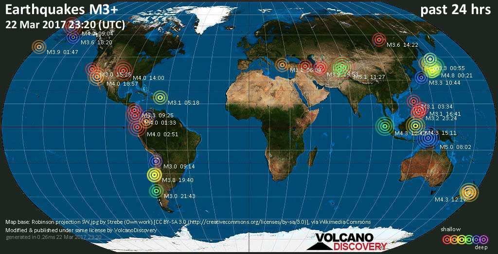 World map showing earthquakes above magnitude 3 during the past 24 hours on 22 Mar 2017