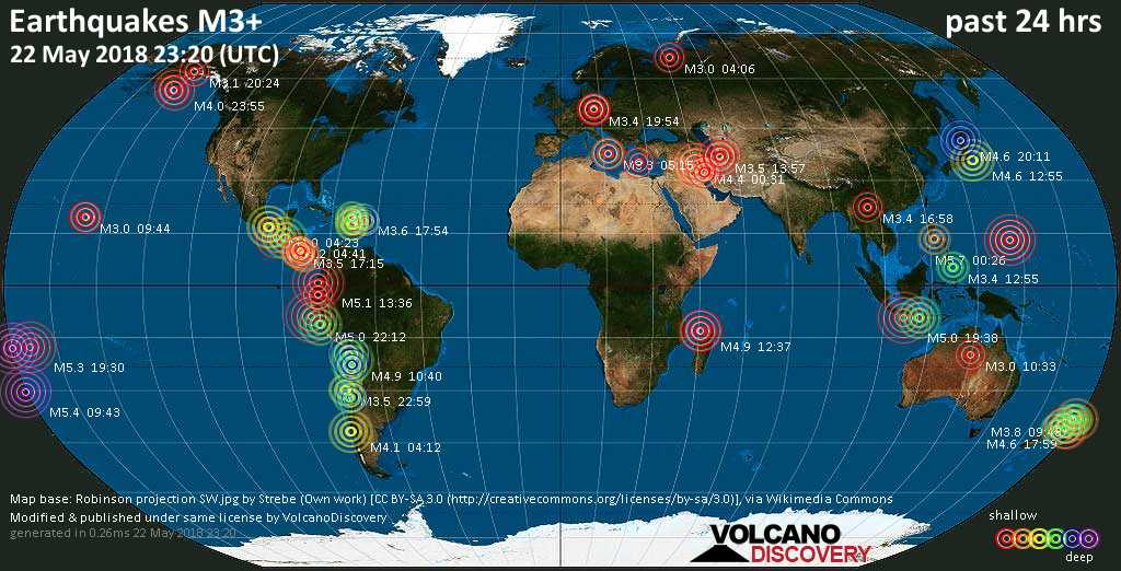 World map showing earthquakes above magnitude 3 during the past 24 hours on 22 May 2018