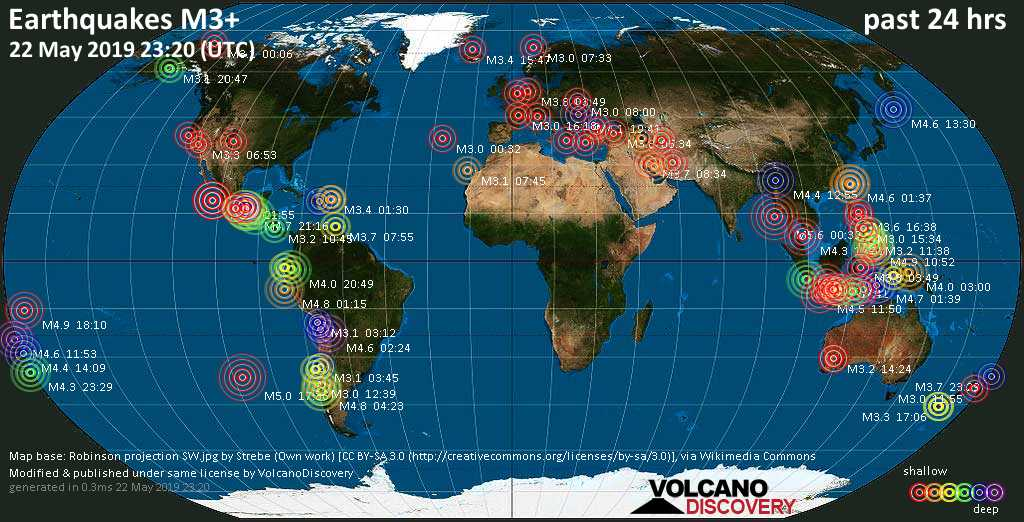World map showing earthquakes above magnitude 3 during the past 24 hours on 22 May 2019