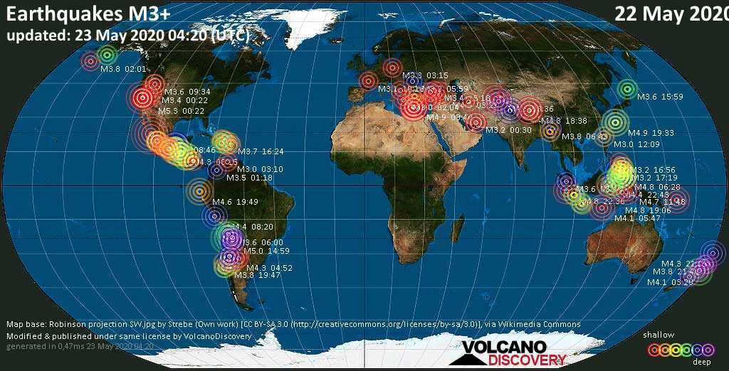 World map showing earthquakes above magnitude 3 during the past 24 hours on 23 May 2020