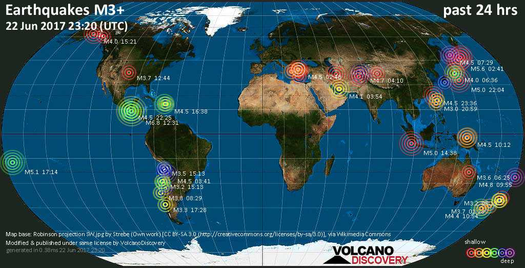 World map showing earthquakes above magnitude 3 during the past 24 hours on 22 Jun 2017