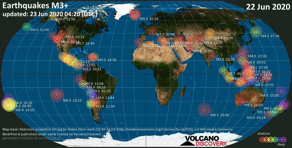 World map showing earthquakes above magnitude 3 during the past 24 hours on 23 Jun 2020