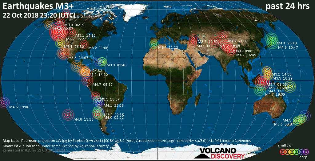 World map showing earthquakes above magnitude 3 during the past 24 hours on 22 Oct 2018