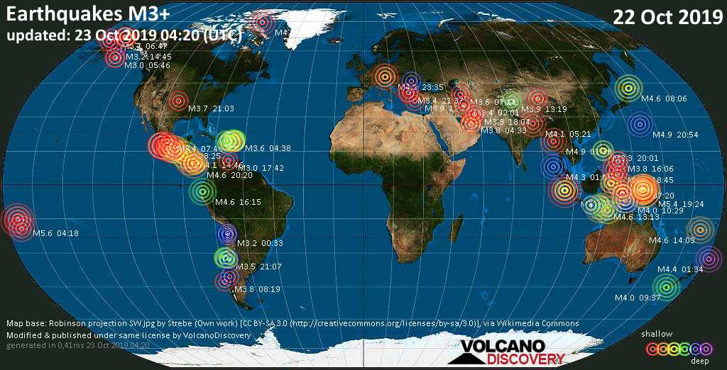 World map showing earthquakes above magnitude 3 during the past 24 hours on 23 Oct 2019