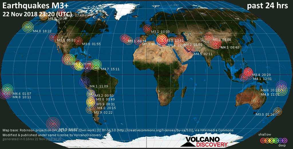 World map showing earthquakes above magnitude 3 during the past 24 hours on 22 Nov 2018