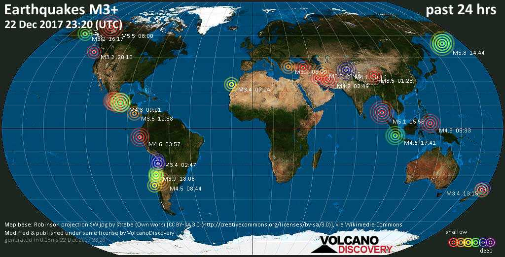World map showing earthquakes above magnitude 3 during the past 24 hours on 22 Dec 2017