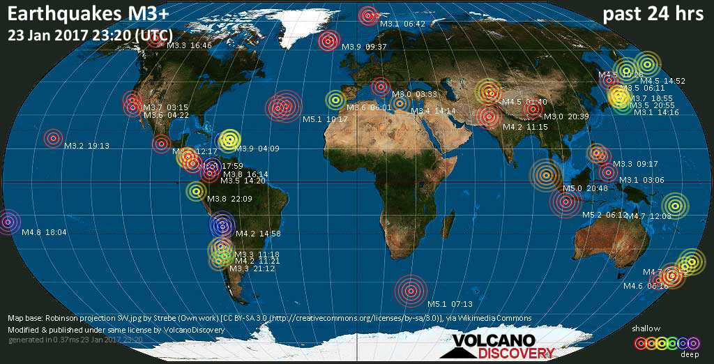 World map showing earthquakes above magnitude 3 during the past 24 hours on 23 Jan 2017