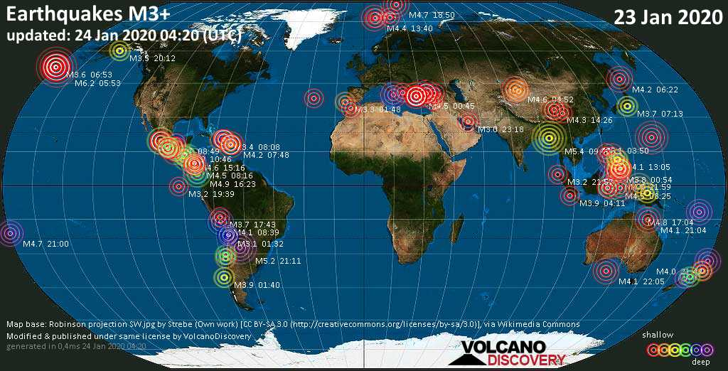 World map showing earthquakes above magnitude 3 during the past 24 hours on 24 Jan 2020