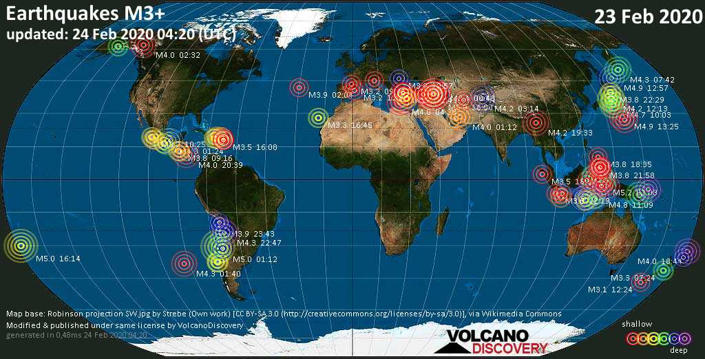 World map showing earthquakes above magnitude 3 during the past 24 hours on 24 Feb 2020