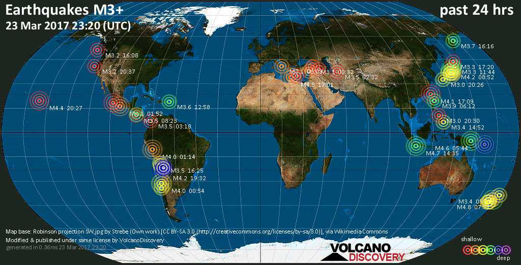 World map showing earthquakes above magnitude 3 during the past 24 hours on 23 Mar 2017