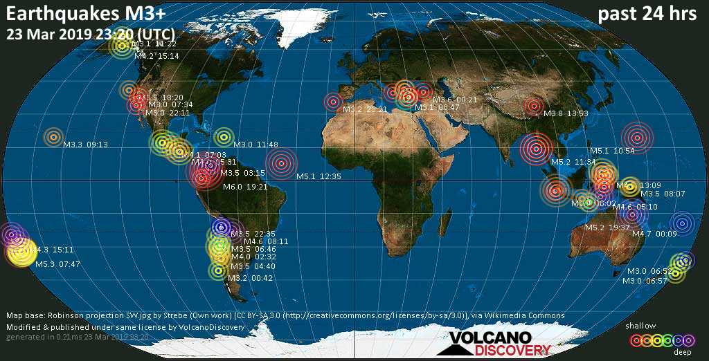 World map showing earthquakes above magnitude 3 during the past 24 hours on 23 Mar 2019