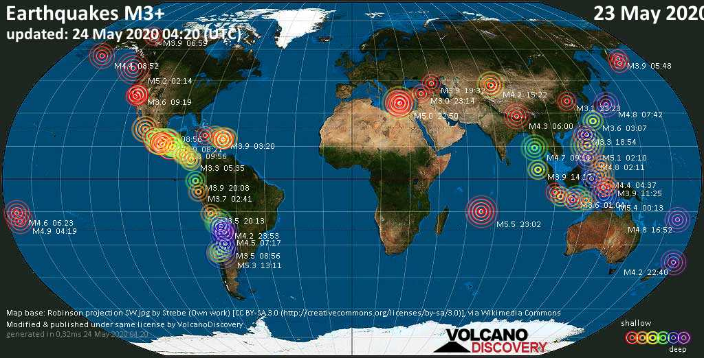 World map showing earthquakes above magnitude 3 during the past 24 hours on 24 May 2020