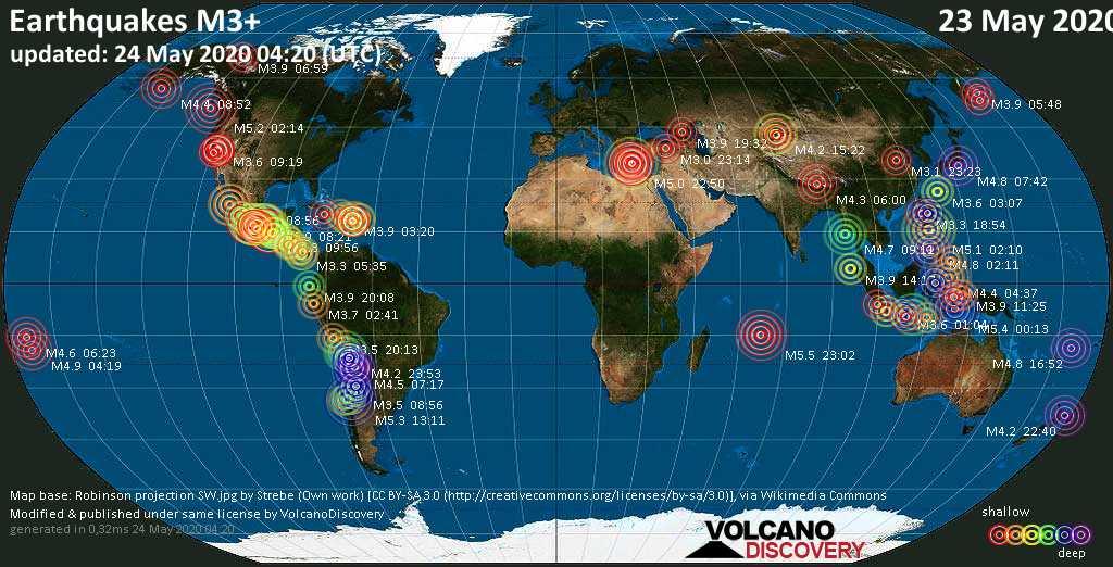 Weltkarte mit Erdbeben über Magnitude 3 während den letzten 24 Stunden past 24 hours am 24. Mai 2020