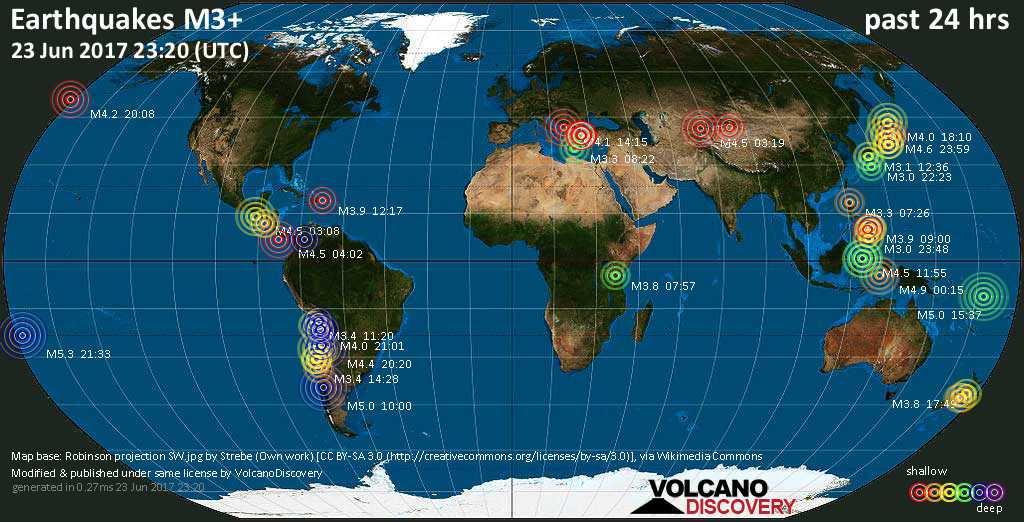 World map showing earthquakes above magnitude 3 during the past 24 hours on 23 Jun 2017