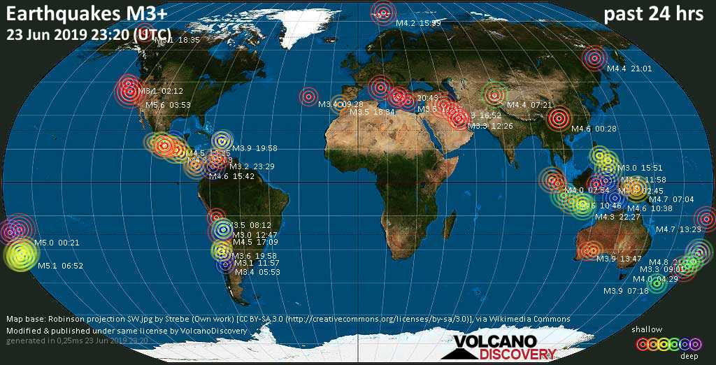 World map showing earthquakes above magnitude 3 during the past 24 hours on 23 Jun 2019
