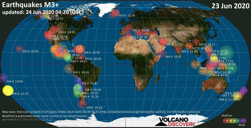 Earthquake report world-wide for Tuesday, 23 June 2020 / VolcanoDiscovery