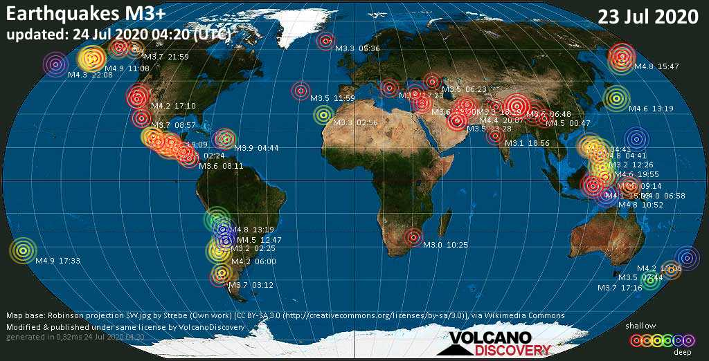 World map showing earthquakes above magnitude 3 during the past 24 hours on 23 Jul 2020