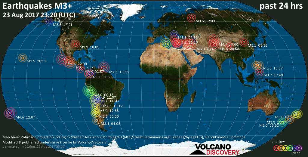 World map showing earthquakes above magnitude 3 during the past 24 hours on 23 Aug 2017