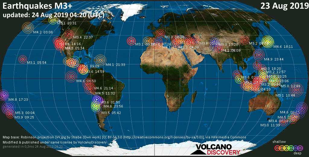World map showing earthquakes above magnitude 3 during the past 24 hours on 24 Aug 2019