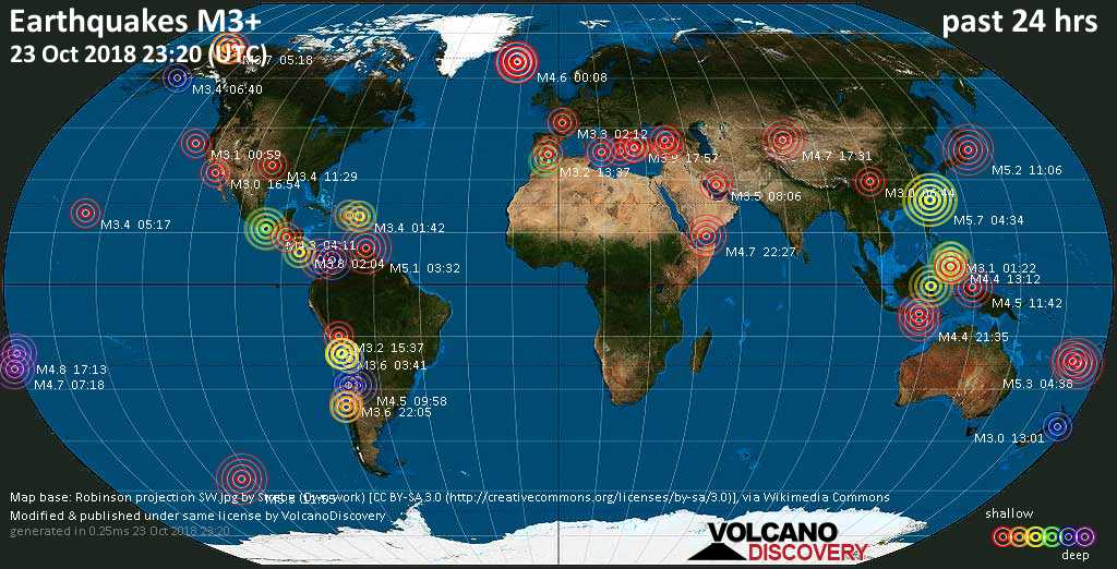 World map showing earthquakes above magnitude 3 during the past 24 hours on 23 Oct 2018