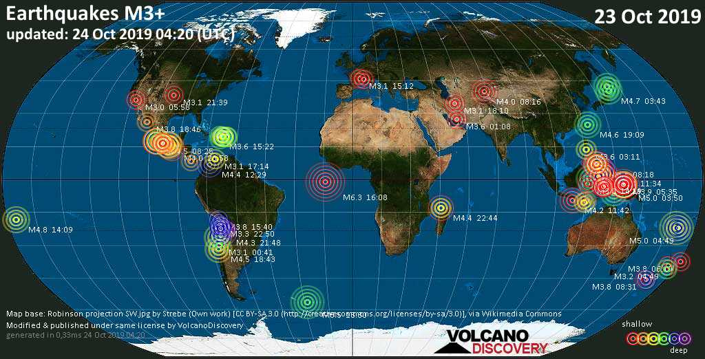 World map showing earthquakes above magnitude 3 during the past 24 hours on 24 Oct 2019