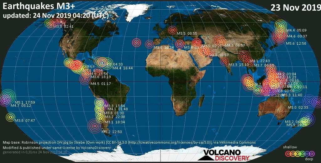 World map showing earthquakes above magnitude 3 during the past 24 hours on 24 Nov 2019