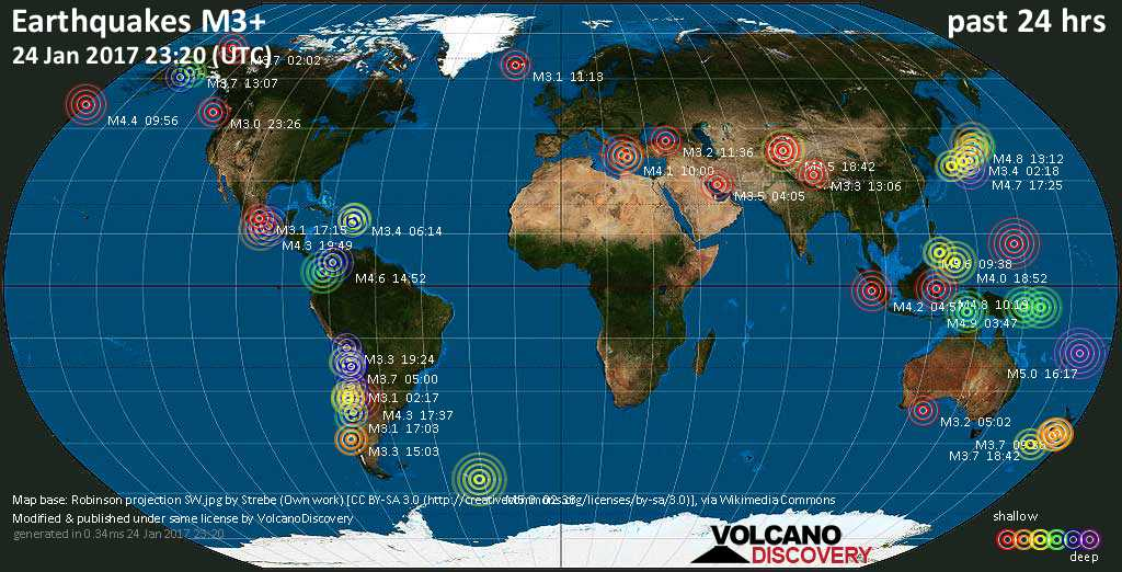 World map showing earthquakes above magnitude 3 during the past 24 hours on 24 Jan 2017