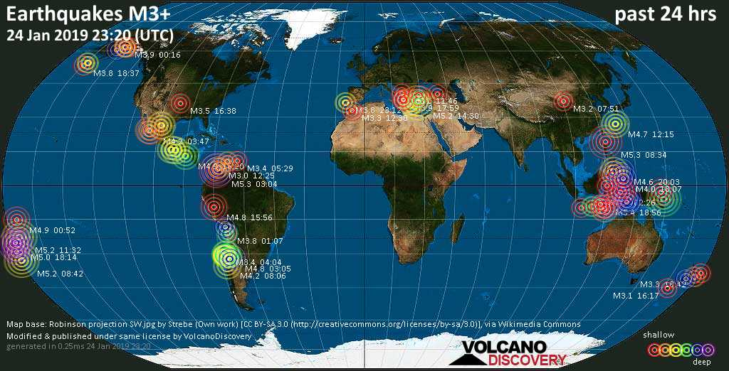World map showing earthquakes above magnitude 3 during the past 24 hours on 24 Jan 2019