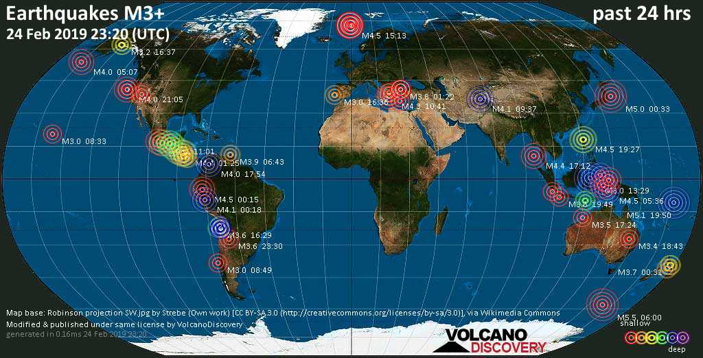 World map showing earthquakes above magnitude 3 during the past 24 hours on 24 Feb 2019