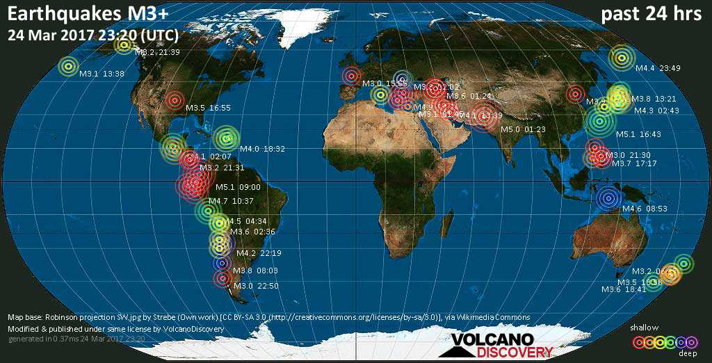 World map showing earthquakes above magnitude 3 during the past 24 hours on 24 Mar 2017