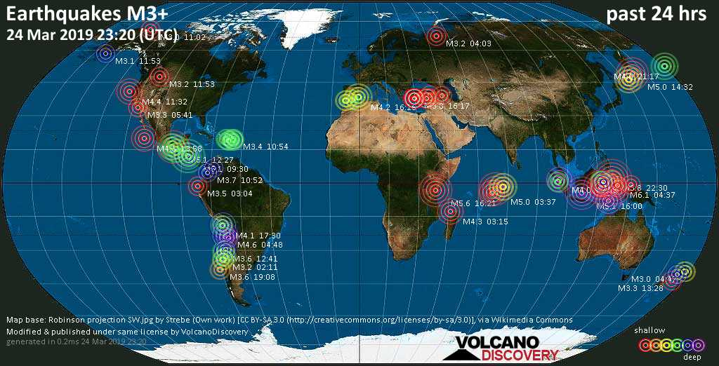 World map showing earthquakes above magnitude 3 during the past 24 hours on 24 Mar 2019