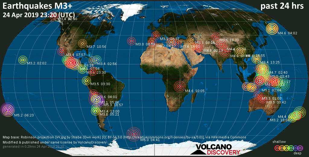 World map showing earthquakes above magnitude 3 during the past 24 hours on 24 Apr 2019