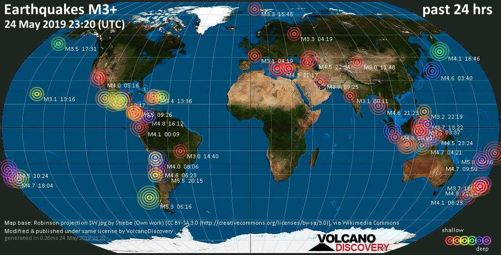 World map showing earthquakes above magnitude 3 during the past 24 hours on 24 May 2019