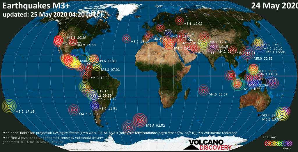 World map showing earthquakes above magnitude 3 during the past 24 hours on 25 May 2020