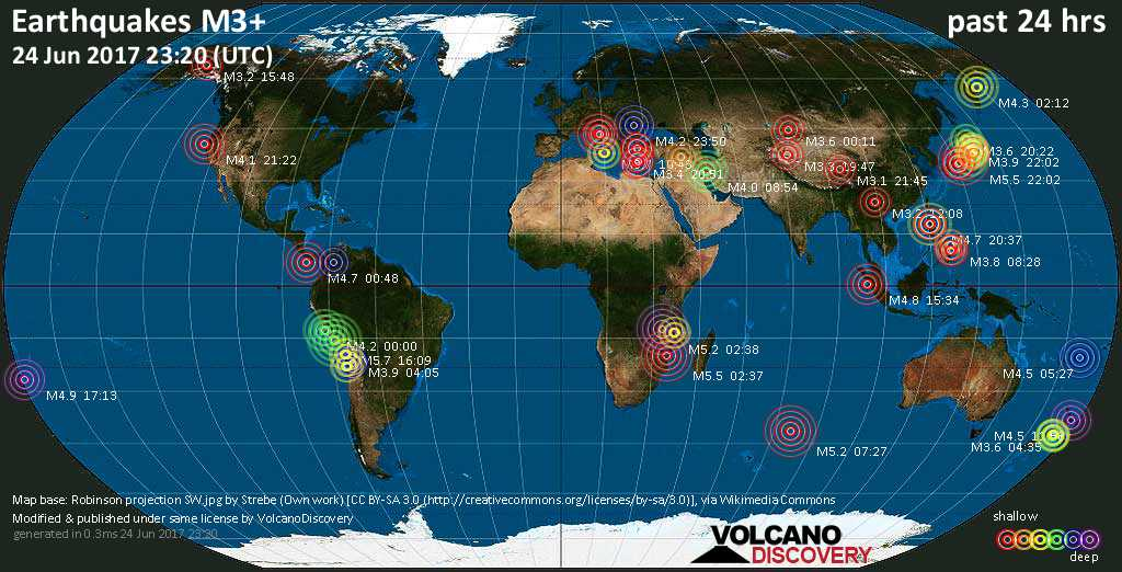 World map showing earthquakes above magnitude 3 during the past 24 hours on 24 Jun 2017
